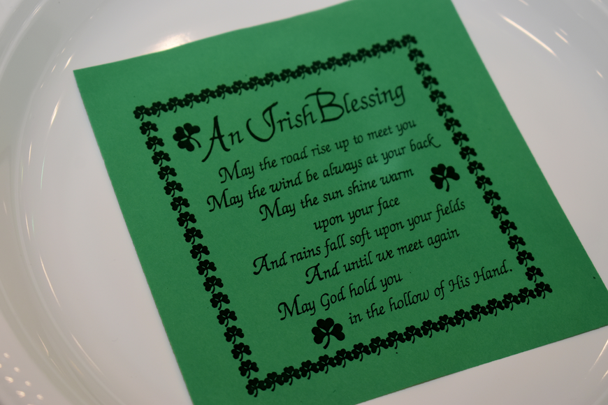 An Irish Blessing sat at each dinner place setting.