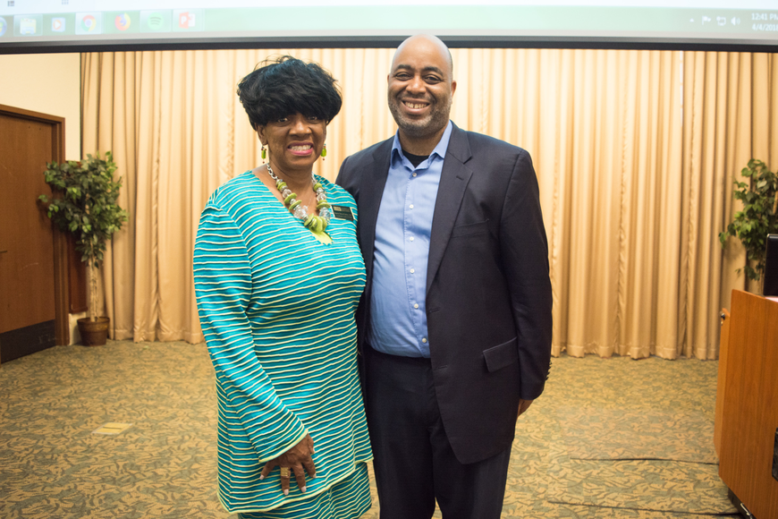 Coordinator of the Center for Partnerships for Arts-integrated Teaching Denise Davis-Cotton with Adrian Miller