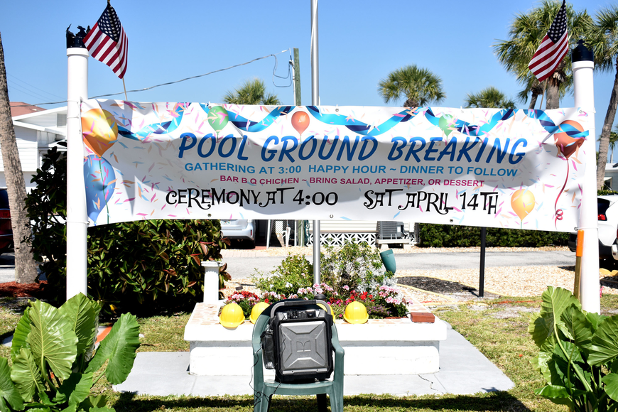 The groundbreaking marks the site for a pool at Twin Shores.