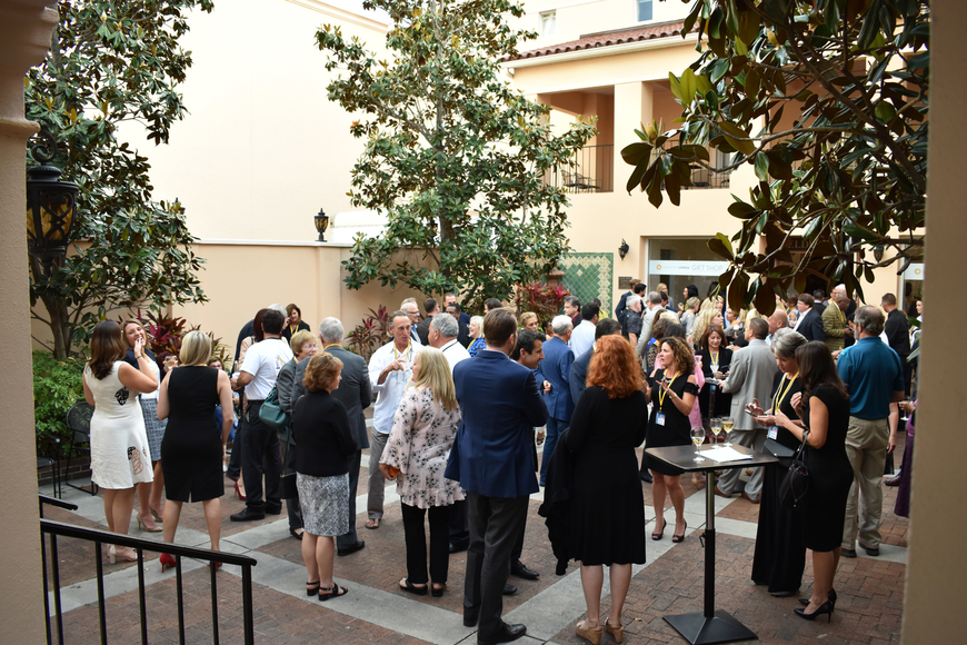 Sponsors and cast members enjoyed light bites and cocktails in the Donna Wolf Steigerwaldt Courtyard of the Sarasota Opera House prior to the show.