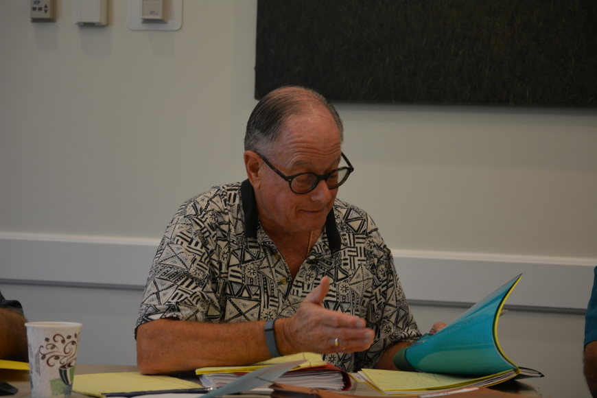 IDA Supervisor Alan Silverglat reviews his top candidates with fellow board members Sept. 30.
