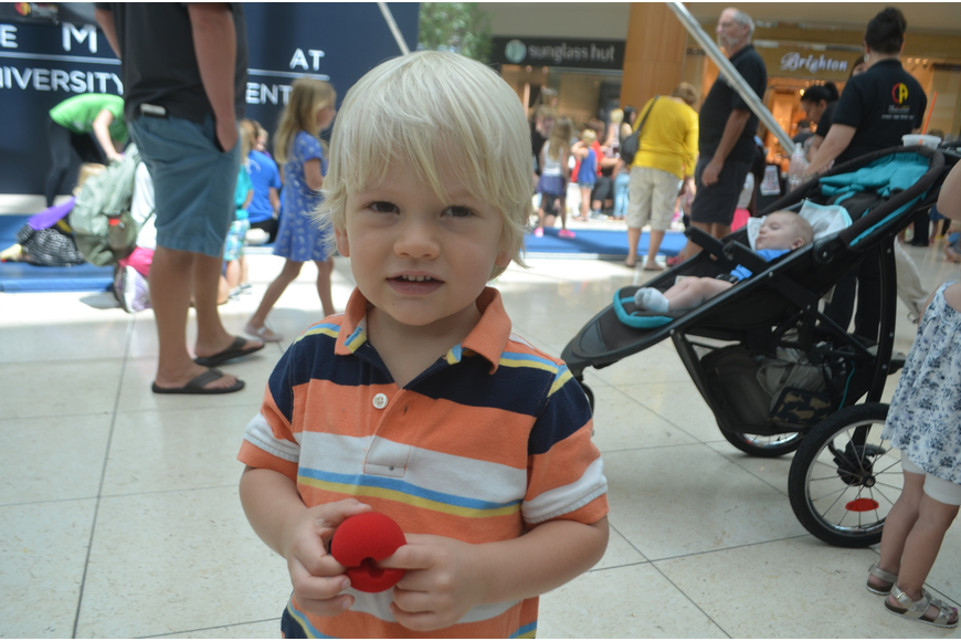 Sarasota's Jack Rubner, 2, loves his clown nose he got at Circus Day.