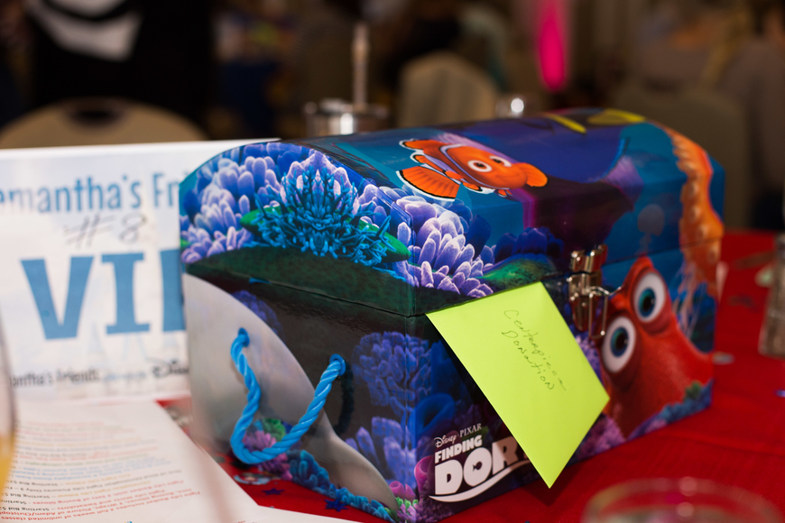 Disney-themed centerpieces were available on a donation basis.
