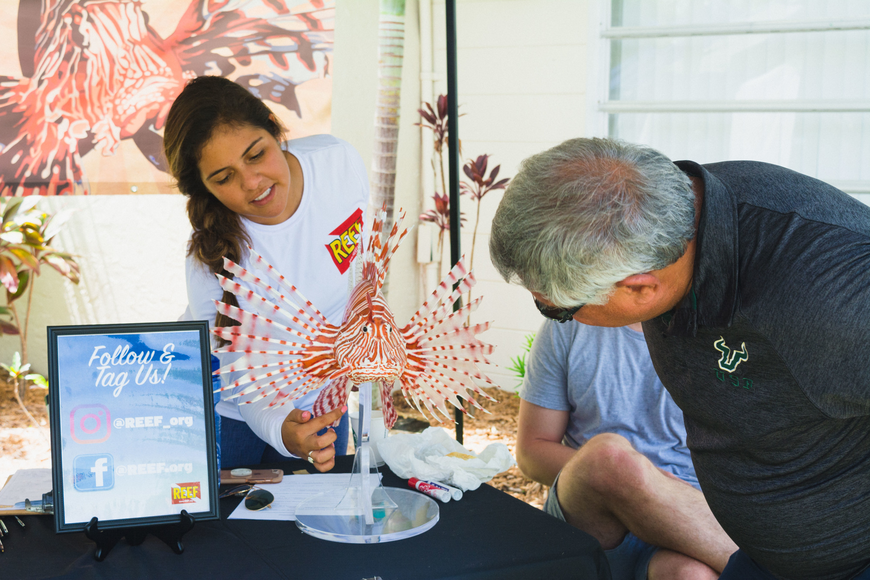 Laura Palomino points out the parts of a lionfish.
