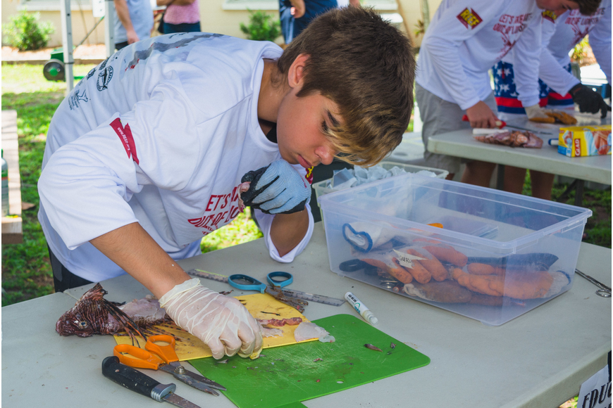 Griffin Akins dissects a lionfish.