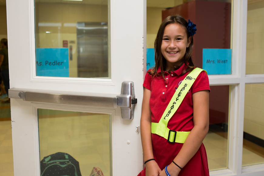 Lizzie Maney, a safety patrol officer for the first day of school at Southside Elementary.