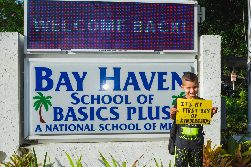 Brycen Moore starts his first day at Bay Haven School of Basics Plus.