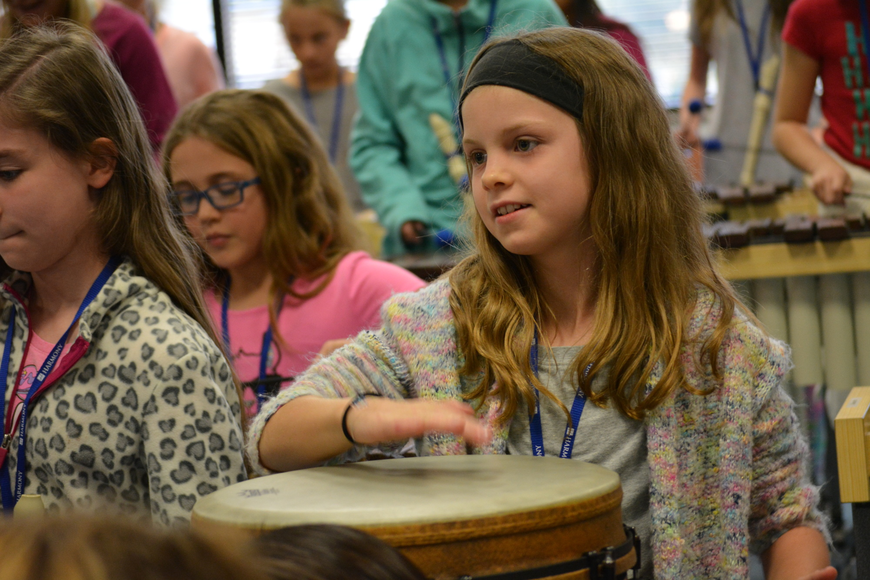 Fifth-grader Parker Morrison proves to be good at keeping rhythm.
