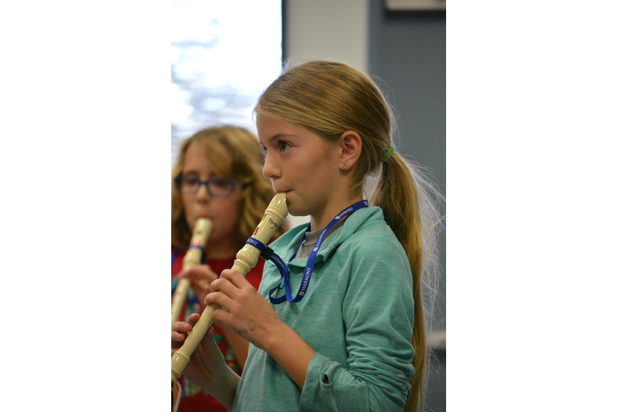 Fourth-grader Morgan Amato showcases her skills on the recorder.