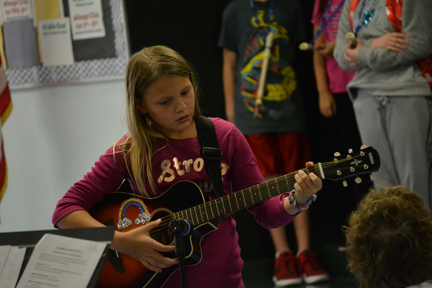 Ten-year-old Autumn Pinion has been playing guitar for two years.