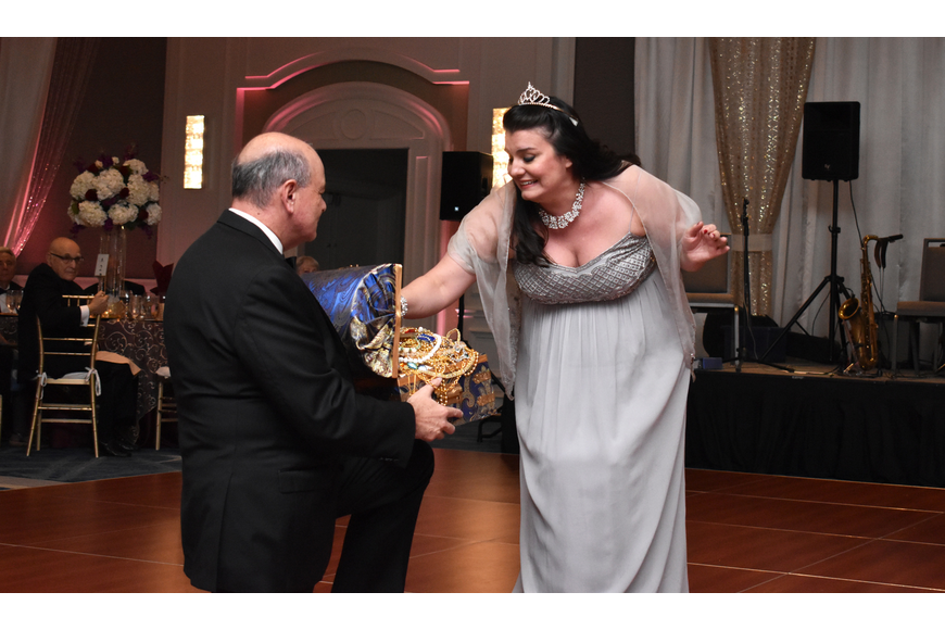 "Soprano Rochelle Bard sings ""Jewel Song"" from ""Gounod's Faust"" with special guest prop holder Executive Director Richard Russell."
