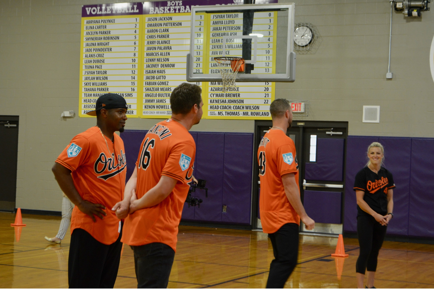 The Orioles team members took the time to answer students' questions once the relay race was over.