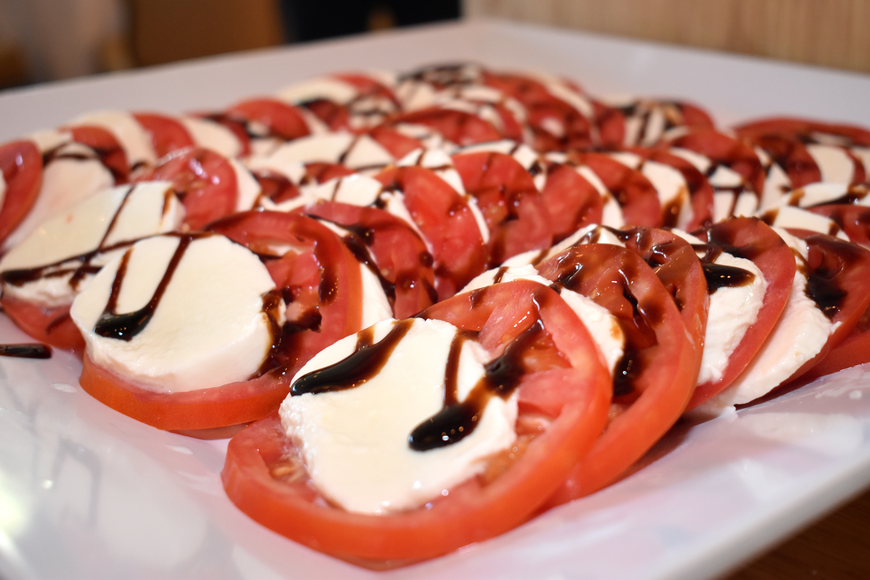 Caprese salad was served at the buffet.