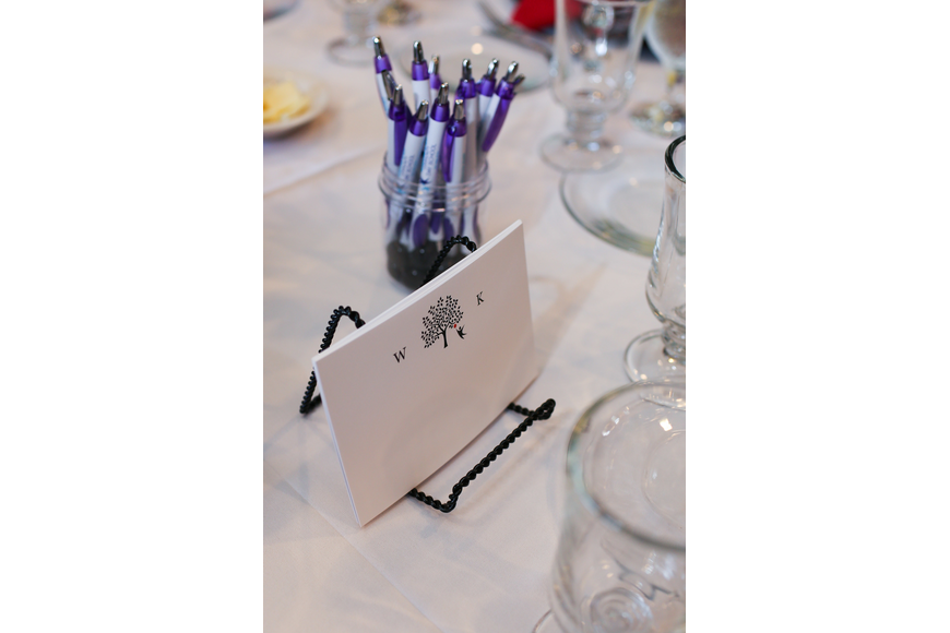 Guests were encouraged to write notes to Wendy Katz with the cards on the tables.