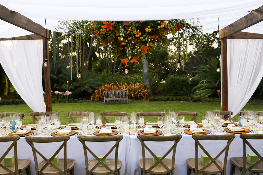 The table was set up in the middle of the Marie Selby Botanical Gardens.