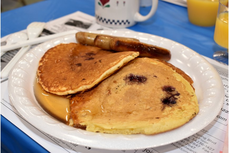 Blueberry pancakes were a big hit during the breakfast.