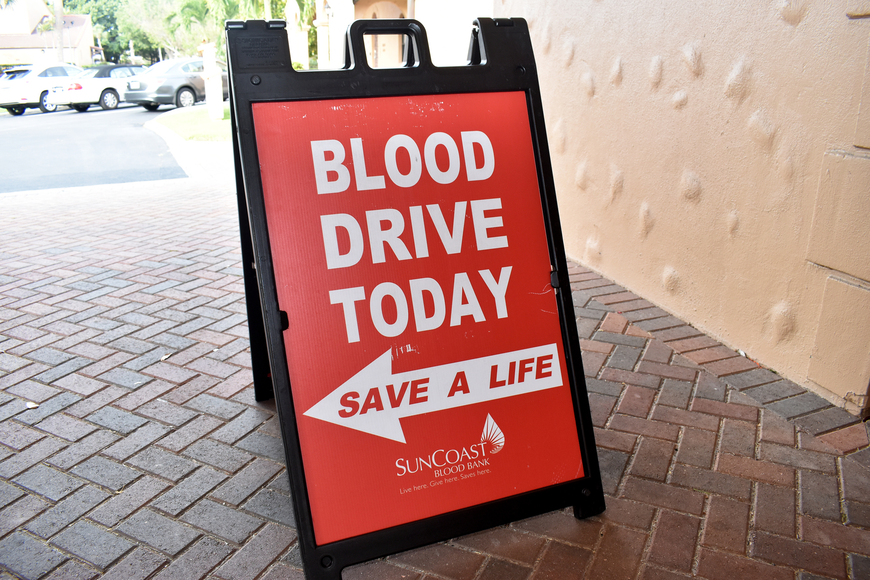 During the breakfast, the Suncoast Blood Bank was on site for a blood drive.