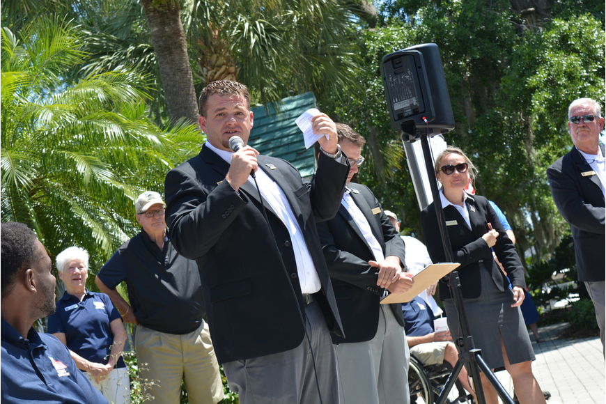 Rosedale Golf and Country Club manager Kevin Conway welcomes the crowd to the tournament during opening ceremonies.