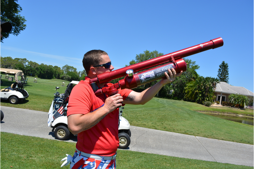 David Schappacher tries the air gun at Hole 10 rather than trying to hit the ball far.
