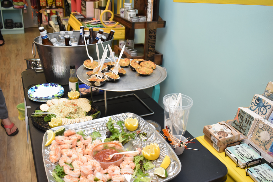 The Chamber of Commerce brought in a delicious spread of seafood.