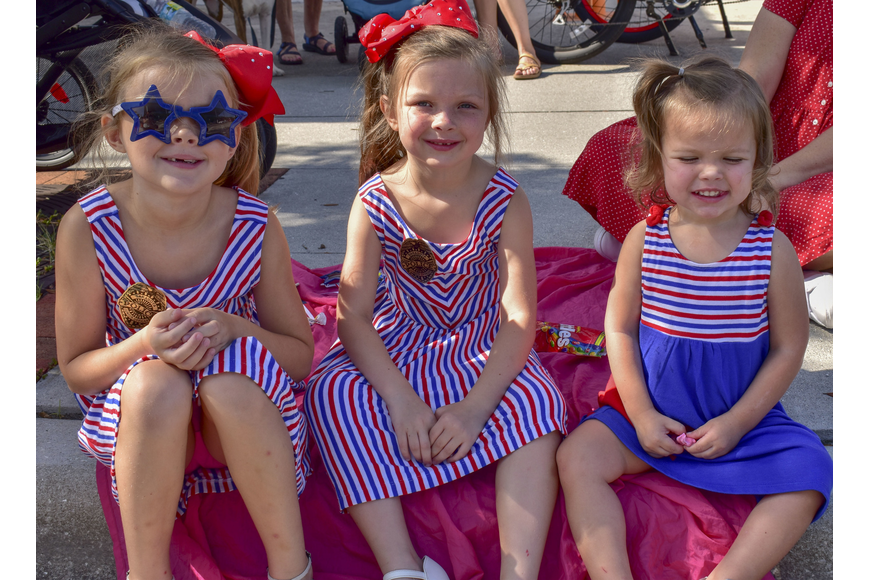 Sisters Harper, Swayer and Renner Hunter decked out in patriotic outfits.