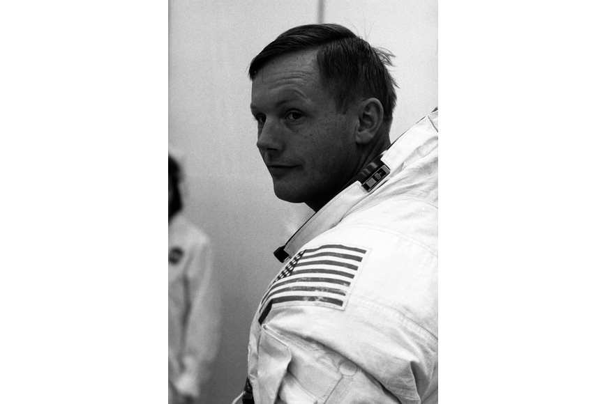 Neil Armstrong in the suit room at Kennedy Space Center on July 3, 1969 while preparing to take place in the final launch dress-rehearsal