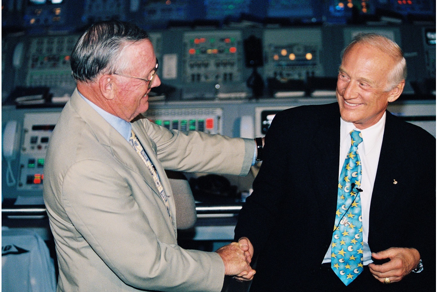 Neil Armstrong and Buzz Aldrin at Kennedy Space Center on July 16, 1999 during a 30th anniversary celebration. The crew would get together every 10 years to reflect on the mission.