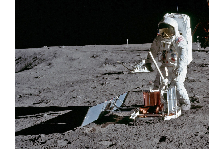 Buzz Aldrin deploying the PSEP (Passive Seismic Experiment Package) at the Sea of Tranquility on July 20, 1969.