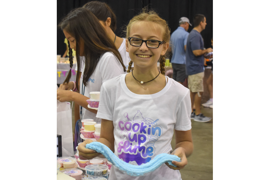 Kylie Kriplean, 14, has been making slime for two years for her shop Cooking Up Slime.