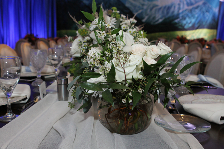 The night had floral arrangements evoking the natural landscape from the musical.