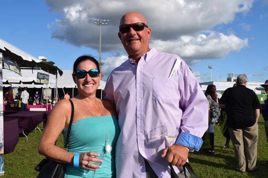 Sarasota's Shannon Haley and Lakewood Ranch's Jay Engstrom love the atmosphere and trying new wines and food at the Suncoast Food and Wine Fest.