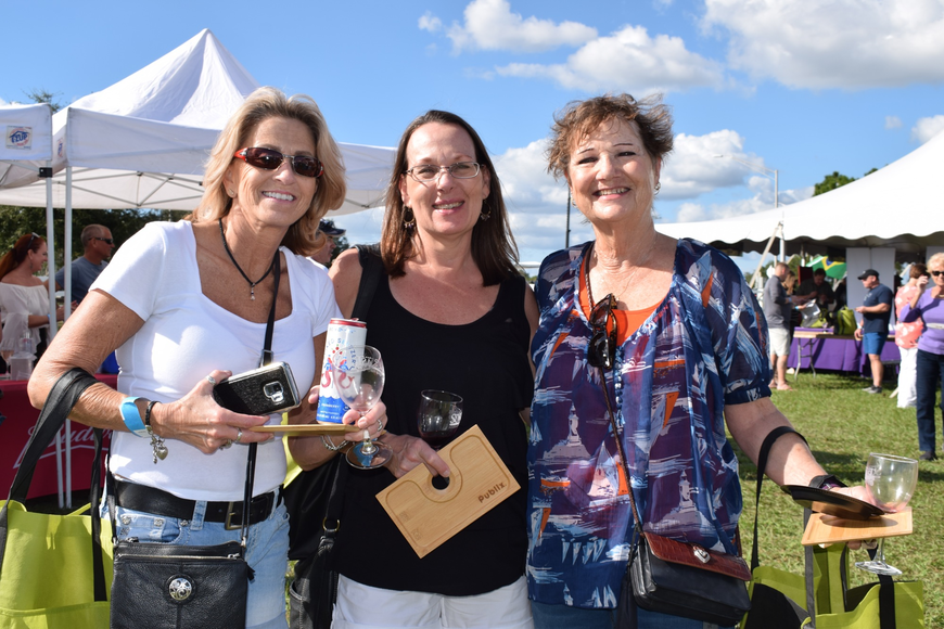 Tampa residents Kathy Coakley, Sharon Klein and Linda Walker enjoy their first time being at the Suncoast Food and Wine Fest.