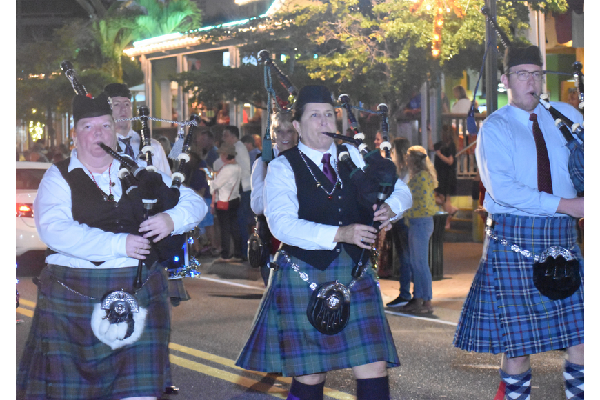 Though there were no 12 drummers drumming, the parade did have bagpipers piping.
