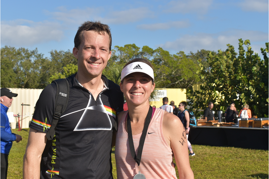 Cord Van Nostrand and Claire Huber after their sprint triathlon finishes.