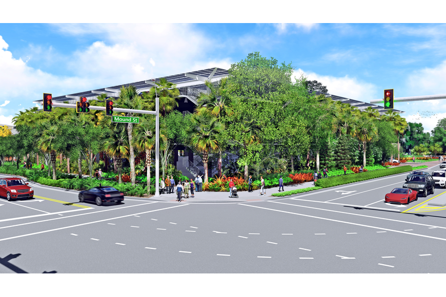 Rendering of a proposed parking garage at Marie Selby Botanical Gardens.