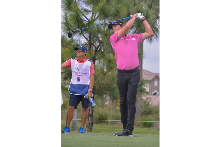 Nicolas Echavarria tees off on day two of the LECOM Suncoast Classic.