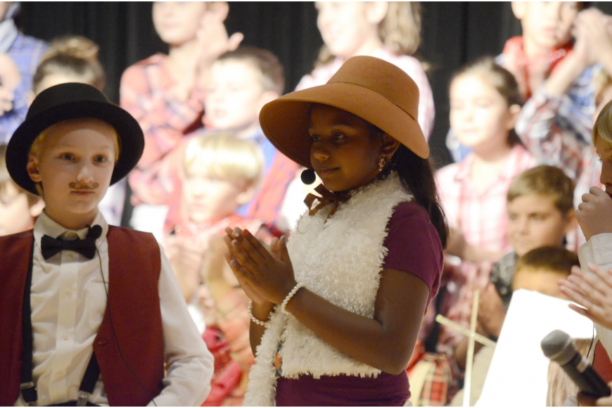 Reese Swanson and Khushi Talluru play Mr. and Mrs. Mayor.