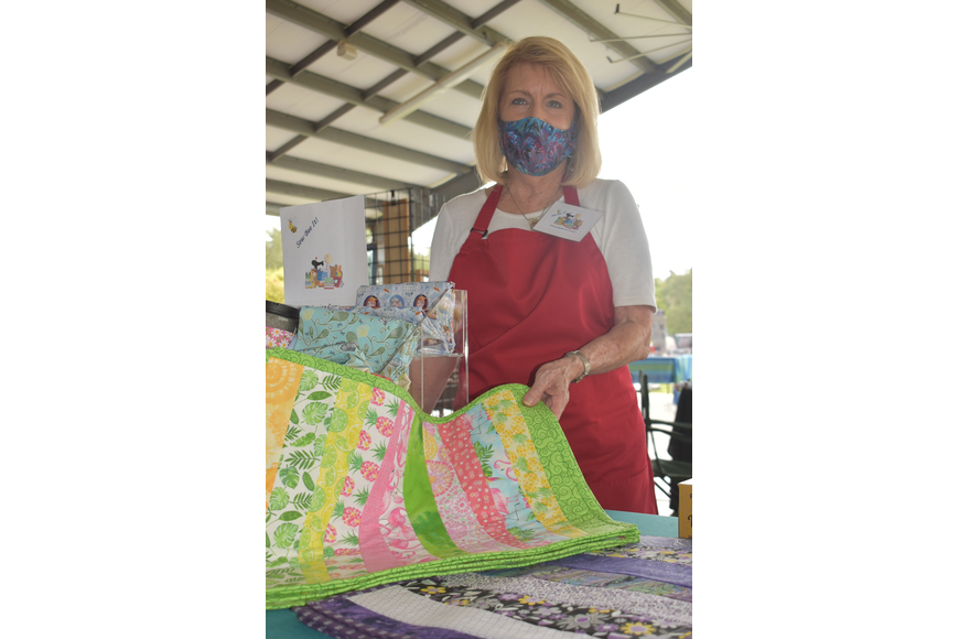 Louise Gray of Tidewater Preserve runs Sew Bee It!, which sells quilted blankets, mugs, masks and more.