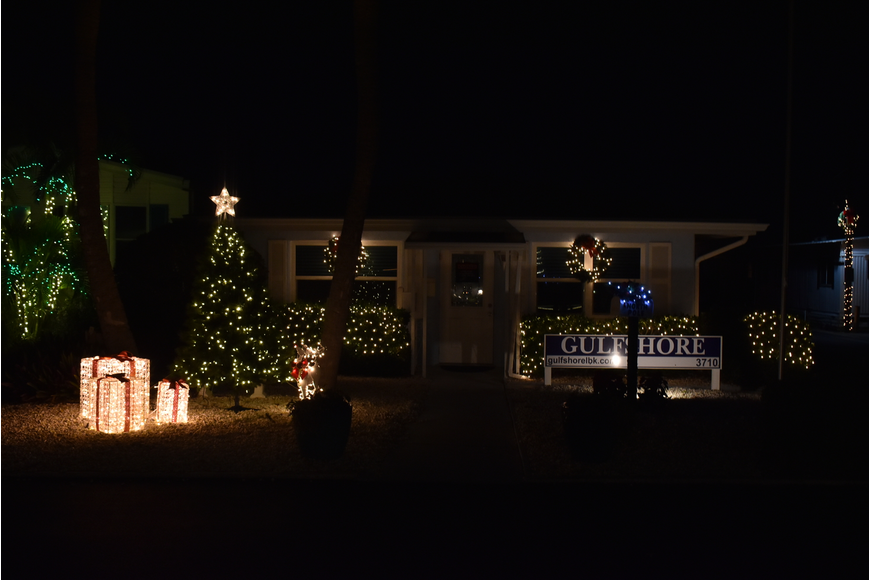 The front office is decorated every year and visible from Gulf of Mexico Drive.