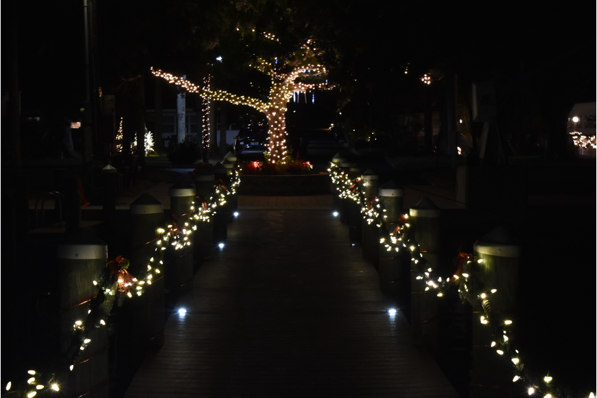 The dock looks festive in both directions.