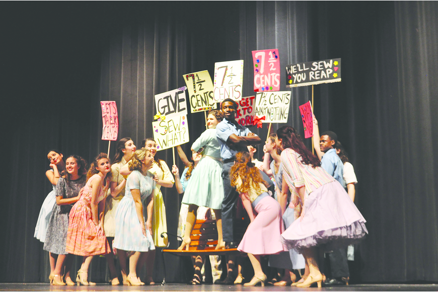 "File photos Pajama factory workers hold a rally during Lakewood Ranch High School's production of ""The Pajama Game."""