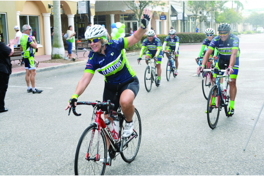 File photos Cycling continued to be a major event in Lakewood Ranch. Wendy Abner leads a group of riders down Main Street as she finishes the 200-mile Team Tony Cycle for Life event.