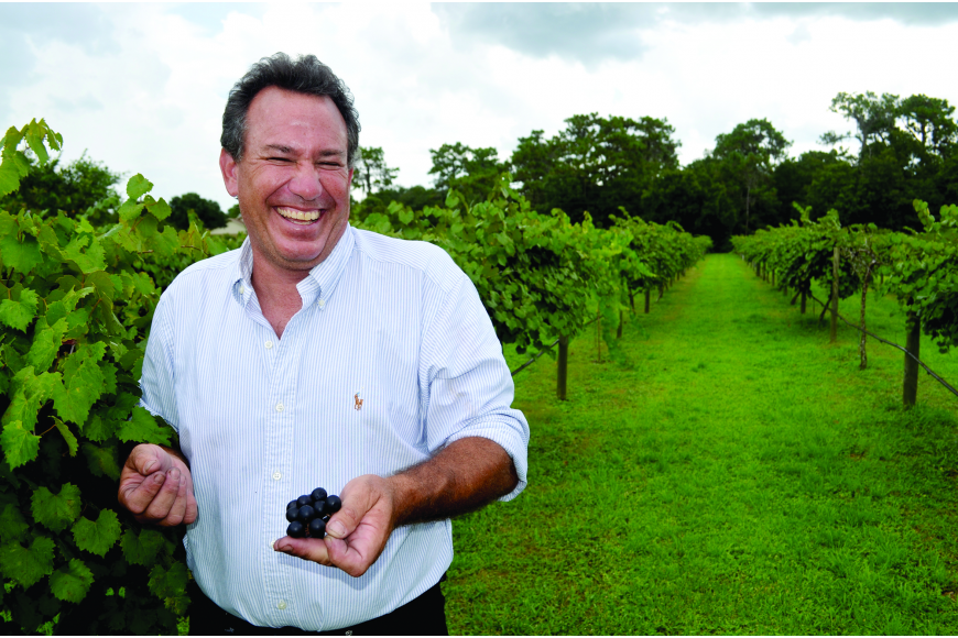 Dave Chaloupka was all smiles after buying the Rosa Fiorelli Winery and Vineyard in East County.