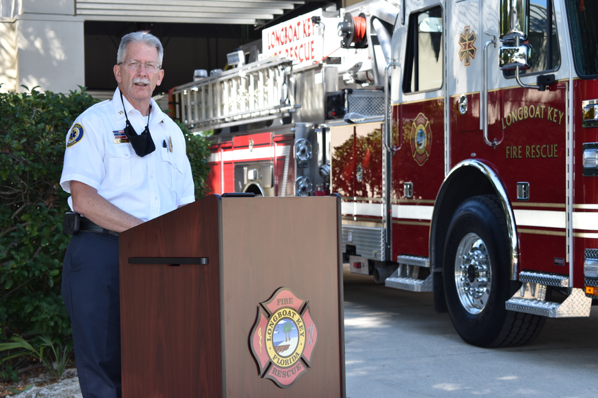 Longboat Key Fire Rescue Deputy Chief Chris Krajic spoke during Monday afternoon's fire truck dedication ceremony.