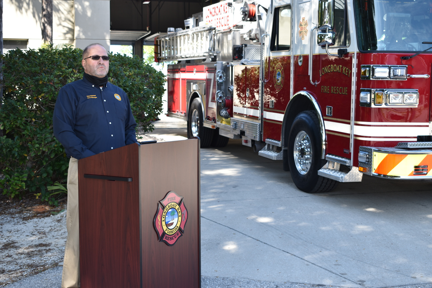 Longboat Key Town Manager Tom Harmer spoke during Monday afternoon's fire truck dedication ceremony.