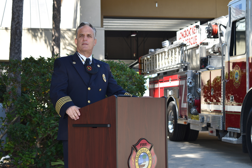 Longboat Key Fire Chief Paul Dezzi spoke during Monday afternoon's fire truck dedication ceremony.