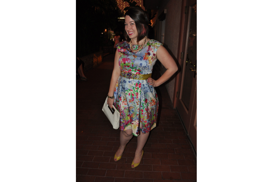Lindsey Nickel in a dress from Modcloth, jewelry from Trebor and J. Crew and a Michael Kors handbag.
