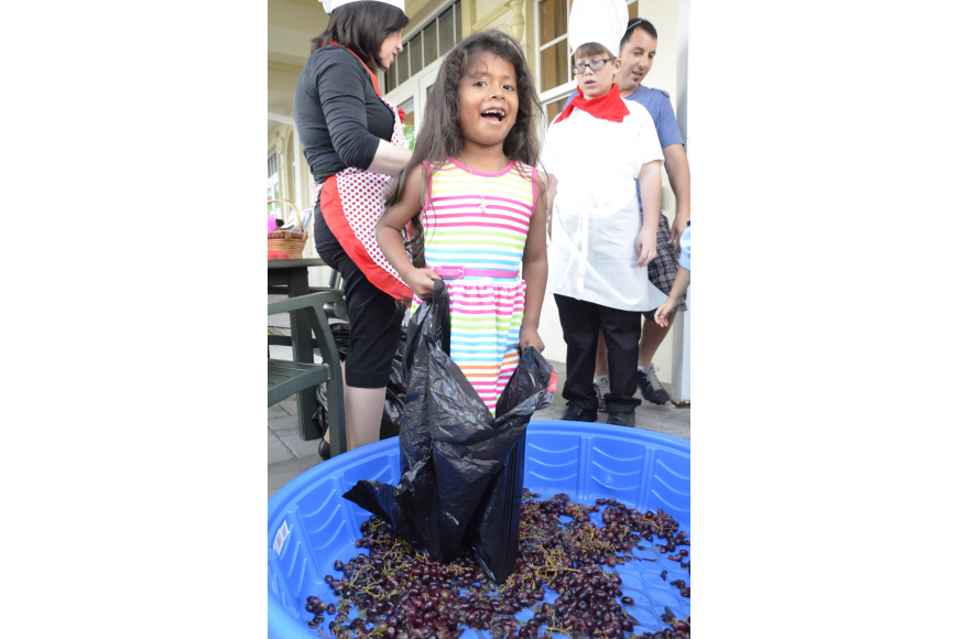 Emily Cohen stomps around on some grapes during the children's program.