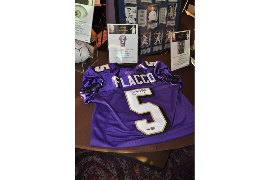One of the most popular items was the Baltimore Ravens jersey signed by the Superbowl's MVP Joe Flacco.