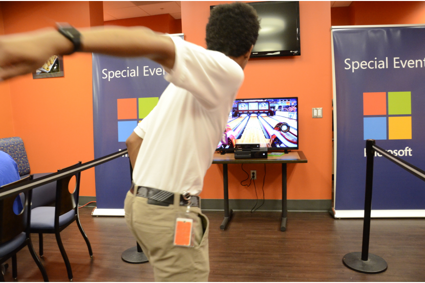 Gabe Taylor of Bradenton bowls in a interactive game developed by Microsoft, which requires no controllers.